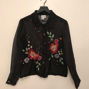Vintage silk embroidered shirt